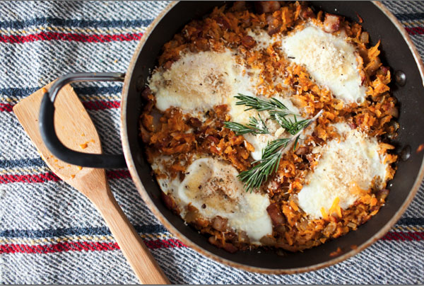 How to make butternut squash hash with piave eggs