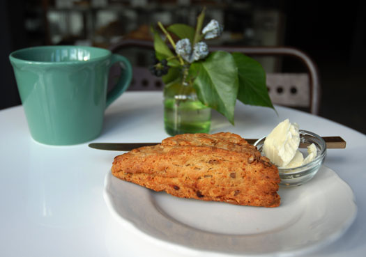 A blue cheese and walnut scone from Ovenly in Greenpoint, Brooklyn