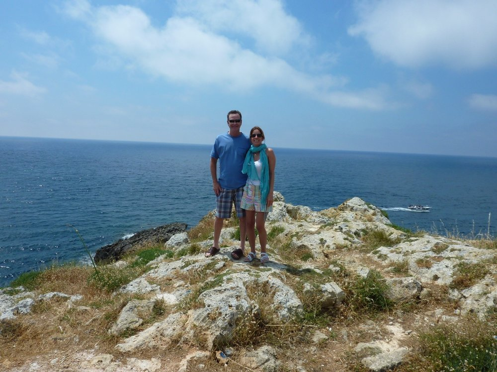 Kristin and Fred at the very tip of Italy where the Ionian Sea and the Adriatic meet