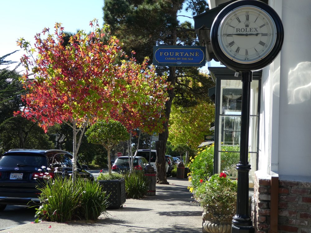 The charming street scene in Carmel-by-the-Sea