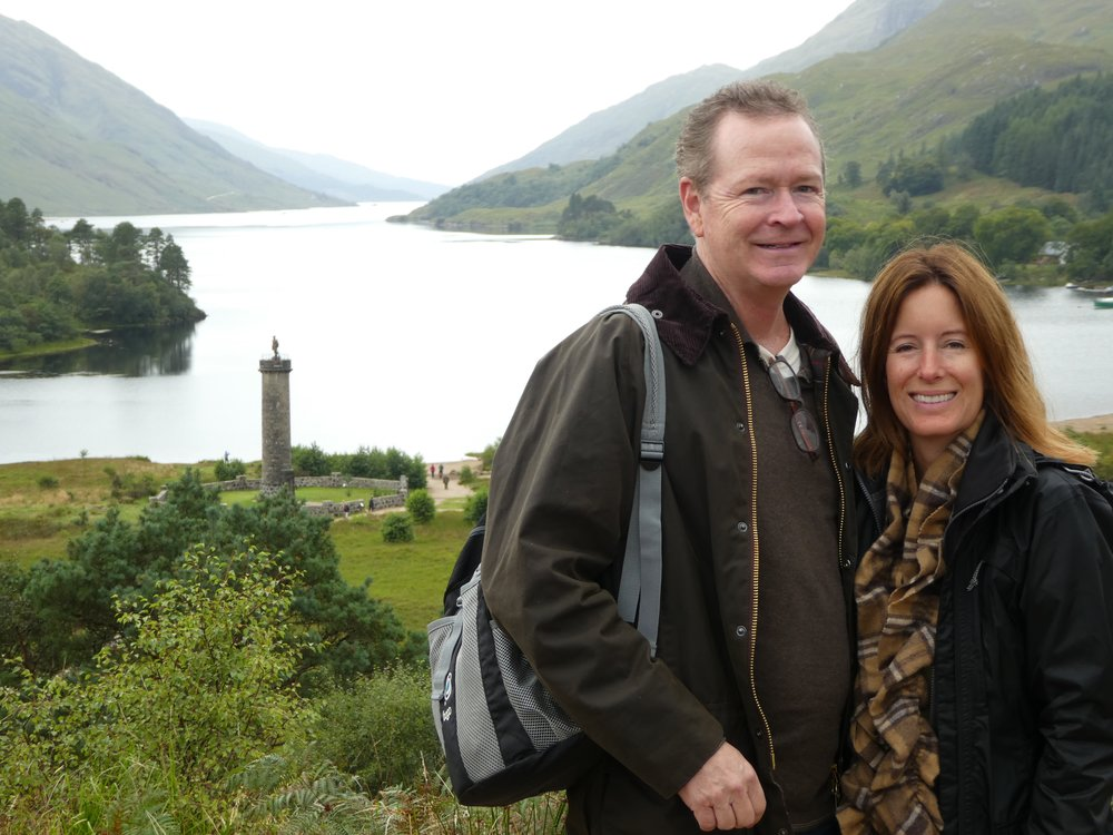 Kristin and Fred at the Bonnie Prince Charlie Monument in Glenfinnan