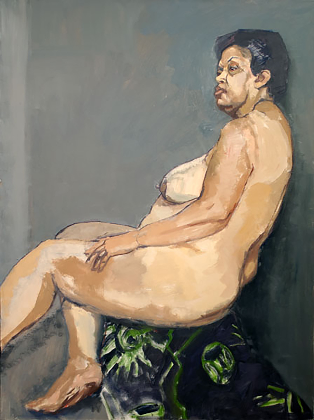 """Andrea Nude, Seated on Floral Sari"""