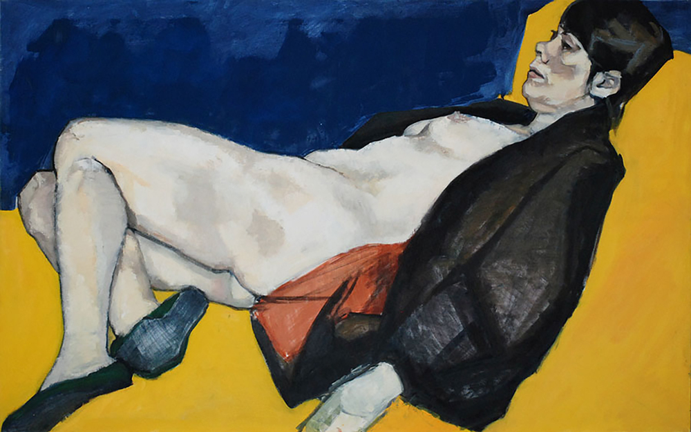 """Reclining Nude (Yellow & Blue Background)"""