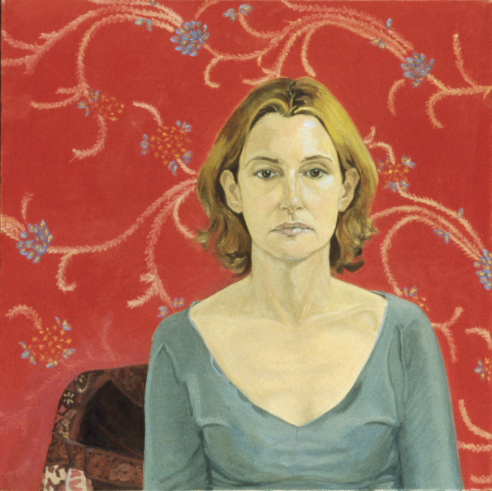 """Self Portrait (Print Background)"" Oil on canvas, 30 in x 30 in, 2003"