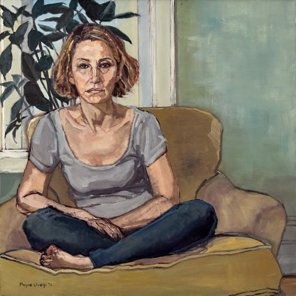 """""""Self Portrait Seated, Cross-Legged (with Plant)"""""""