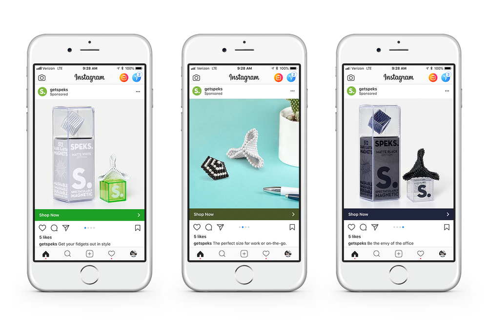 ABOVE: Instagram slideshow ad utilizing new product and styled photography