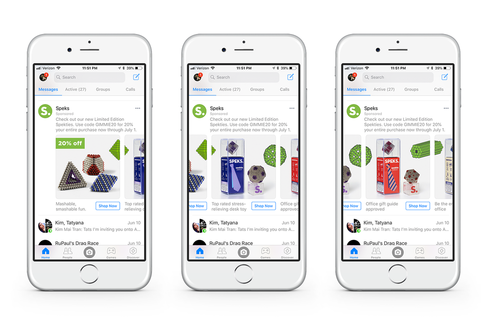 ABOVE: Facebook messenger slideshow ad utilizing new product photography and carrying over collage style established on the website