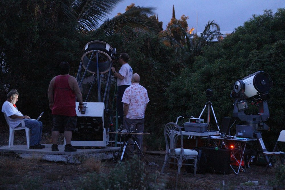 Sunrise in Cliff's backyard in Waikoloa Village, Hawaii. Tony, Chris, Eliot and Cliff wrapping up.