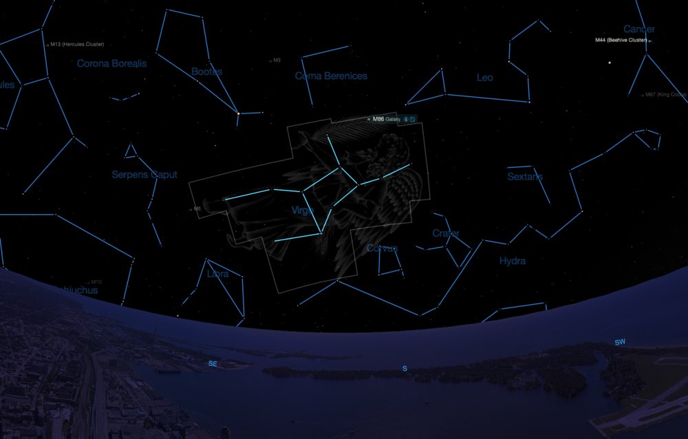 The constellation Virgo as seen from mid-northern latitudes in mid-May at 10:00 p.m.