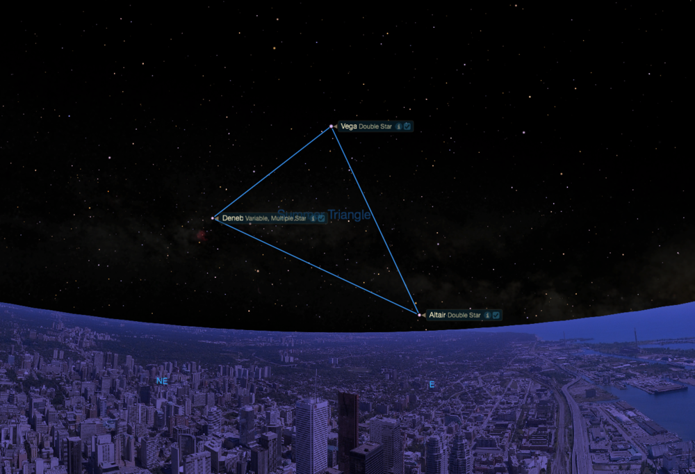 The Summer Triangle begins to rise in the Spring.  As seen from mid-northern latitudes in mid-May near midnight.