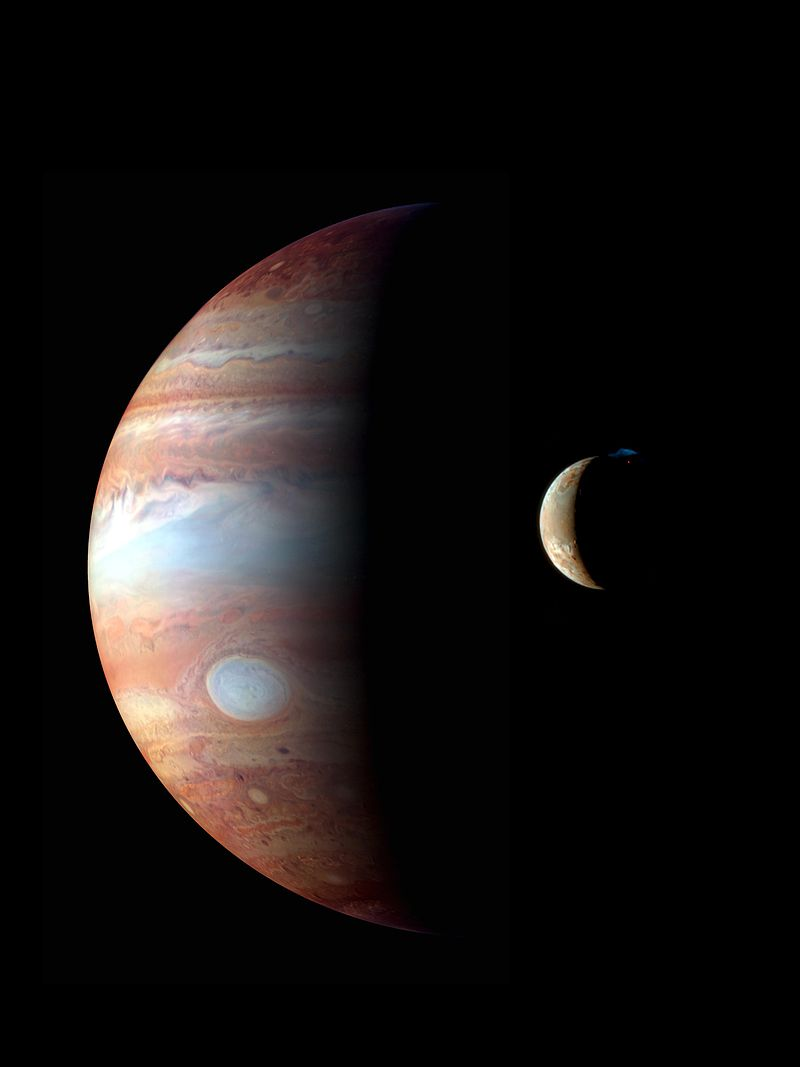 A composite image of Jupiter and Io, taken on on February 28 and March 1, 2007 respectively. Jupiter is shown in infrared, while Io is shown in true-color.