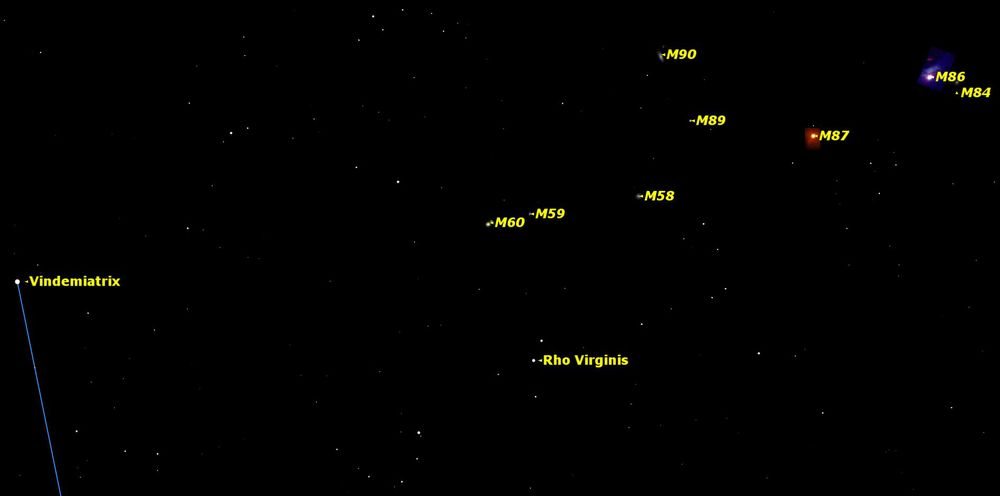 The Virgo Galaxy Cluster is an easy starhop from Vindemiatrix. Credit:    Starry Night     software .
