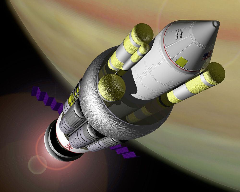 An artist's conception of the NASA reference design for the Project Orion spacecraft powered by nuclear propulsion.