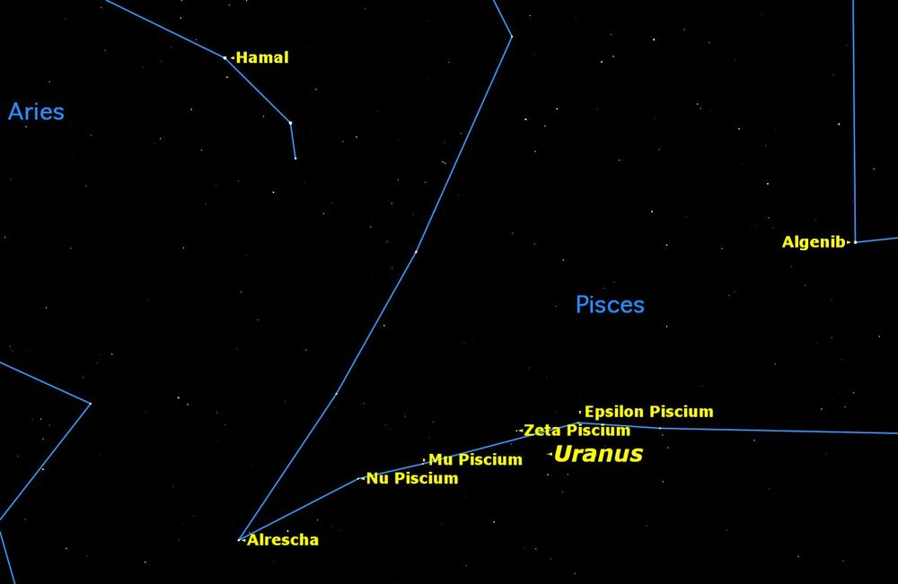 Uranus is easy to spot with binoculars in the constellation Pisces. Credit: Starry Night software.