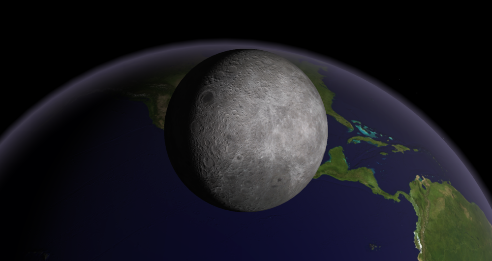 Seen from Venus, the moon will transit Earth, blocking the view of most of North America. If the moon looks strange here, it's because we're looking at its far side, the side never seen from Earth. Credit: Starry Night software.