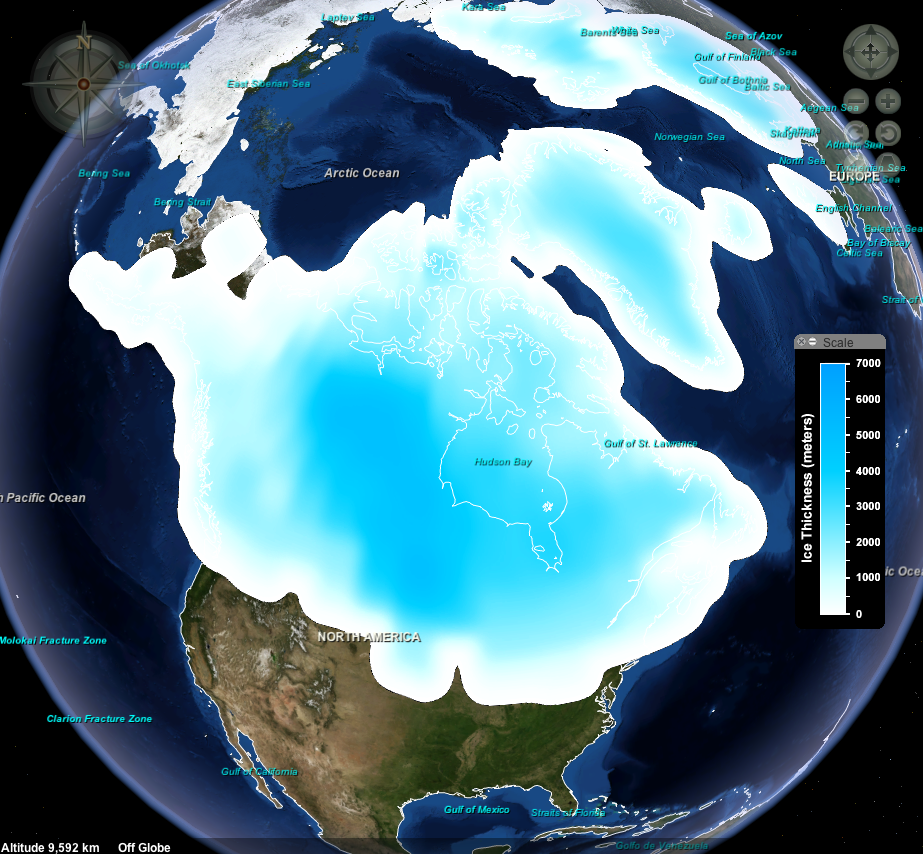 The extent of the ice sheet covering North America 16,000 years ago.