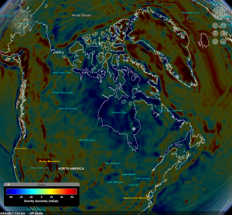 The negative gravity anomaly in the Hudson Bay area.