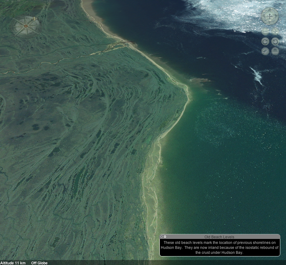 This unusual view of the Hudson Bay coastline can be found at 56.390N, 87.950W.