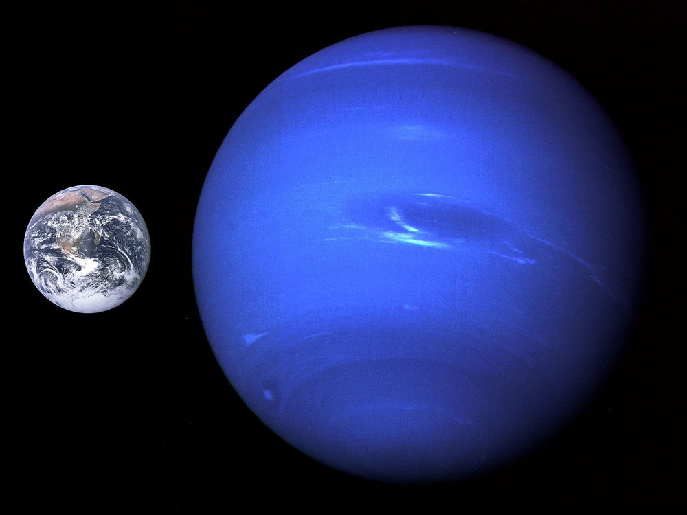 Figure 3 shows a portrait of Neptune taken by the Voyager 2 spacecraft in 1989 which was then 4.4 million miles from the planet. The Earth is shown for a size comparison.