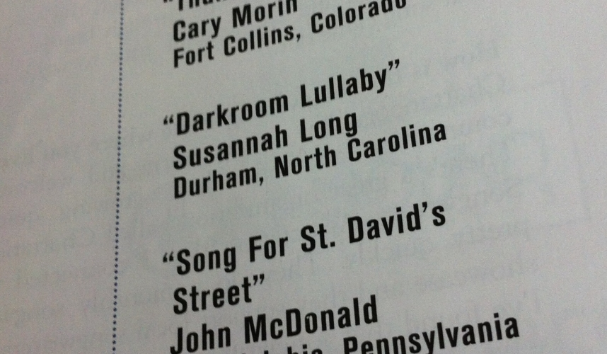 """Darkroom Lullaby"" receives an honorable mention in American Songwriter's May/June 2015 Lyric Contest"