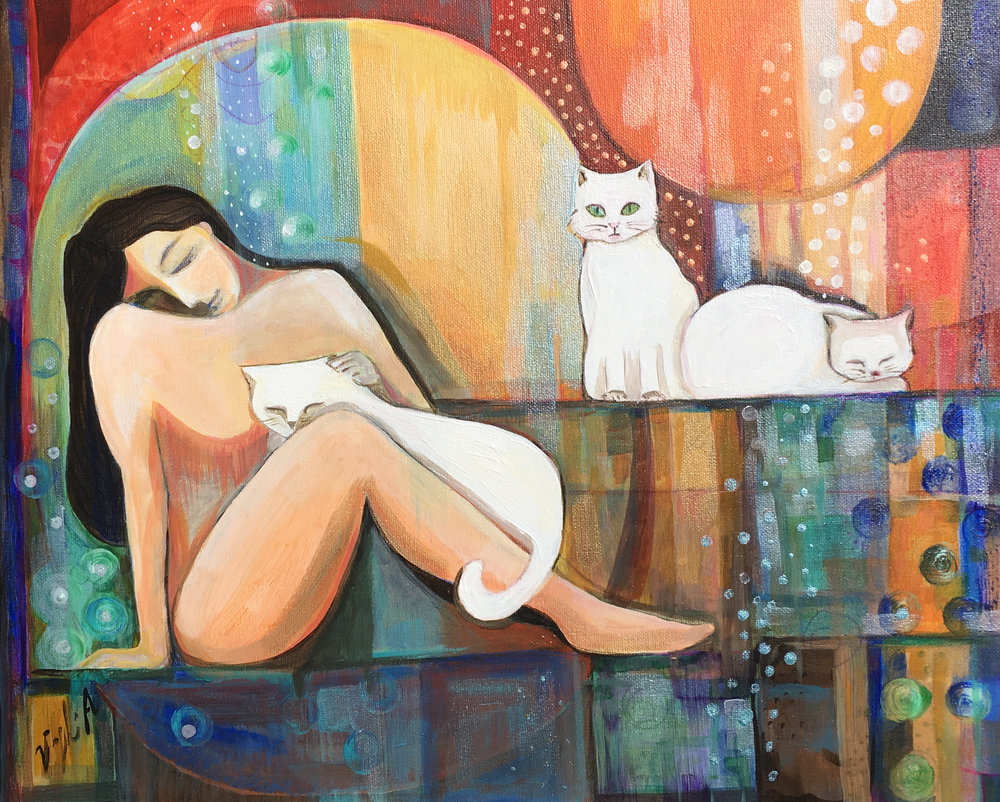 Woman and Her Cats