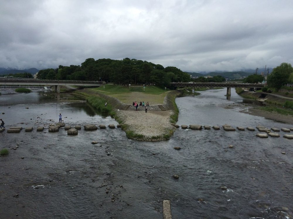 Rivers combining to form Kamogawa at Demachi Yanagi