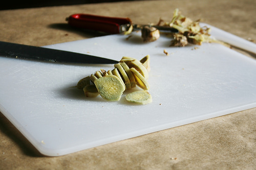 Sliced ginger. Photo by Andrea Holodnick.
