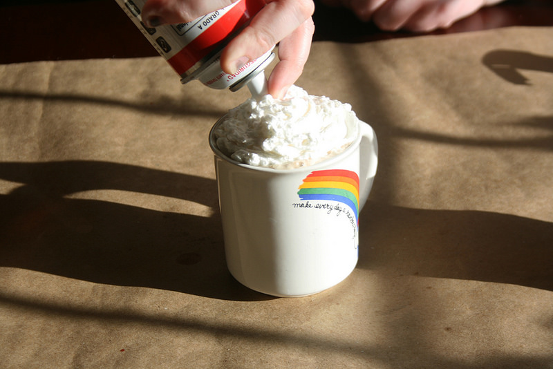Lorelai cocktail: Sweetened condensed milk, coffee, rum, whipped cream.