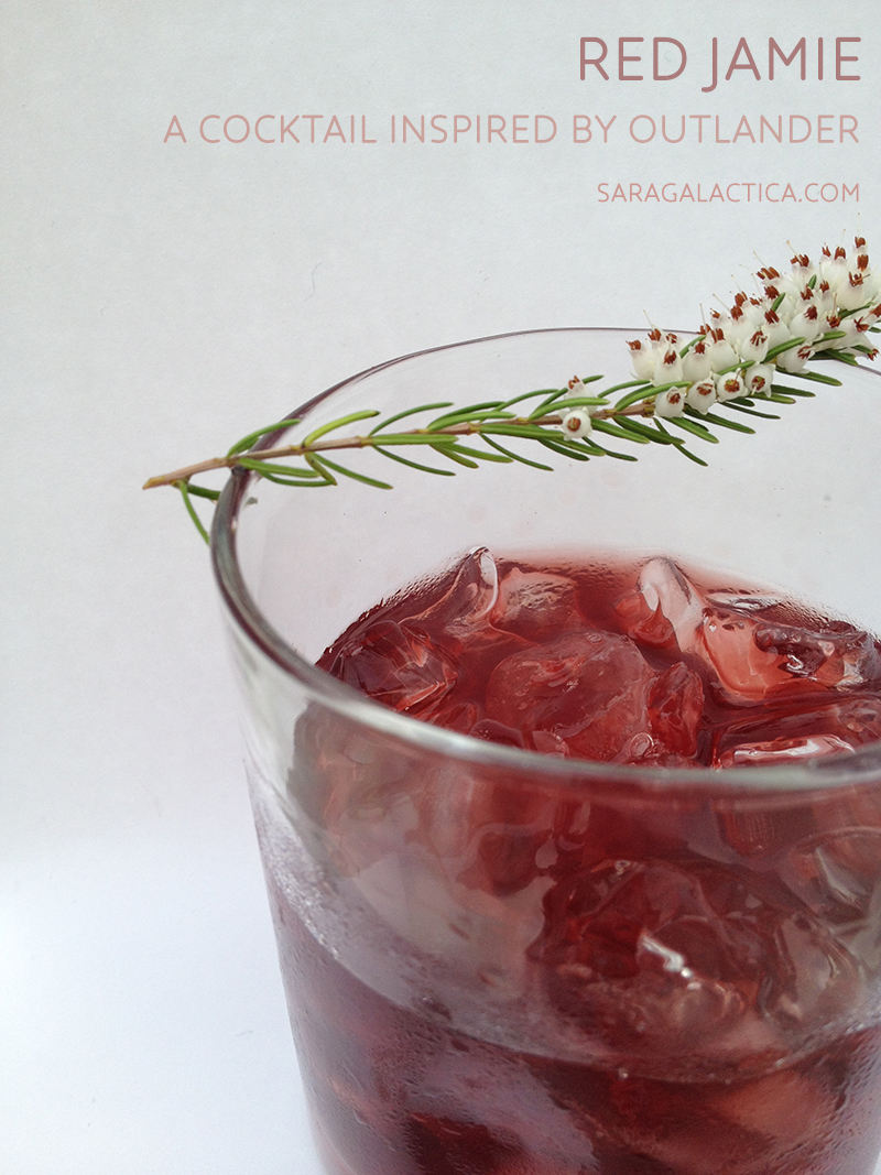 Red Jamie: A cocktail inspired by Outlander. Scotch, gin, port, honey, bitters. | saragalactica.com