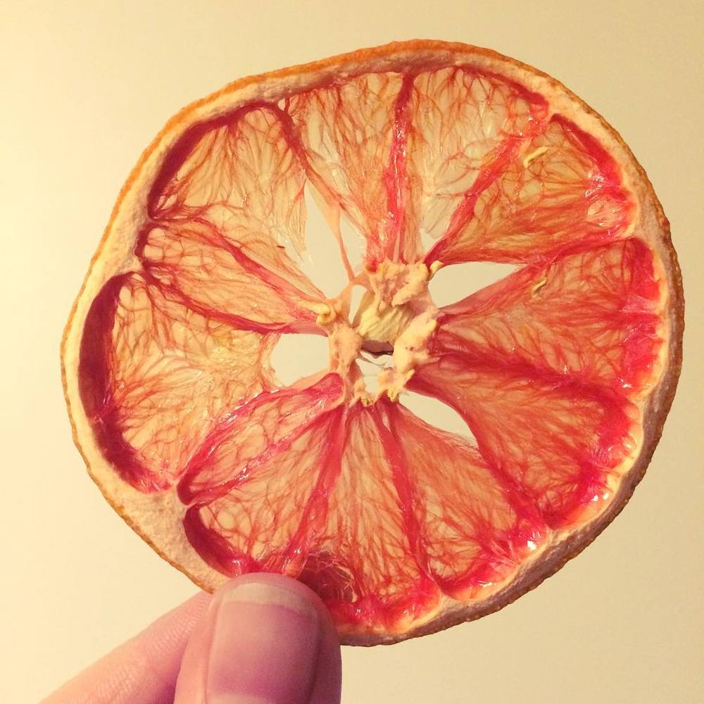 Dehydrated grapefruit garnish