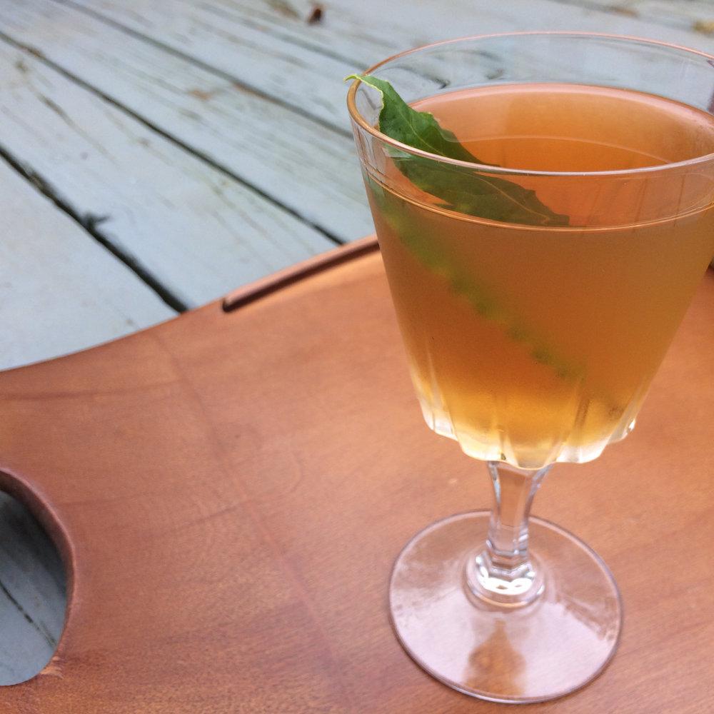 Madam President cocktail: Bourbon, Lillet Blanc, amaro, agave, bay leaf. Recipe: saragalactica.com.