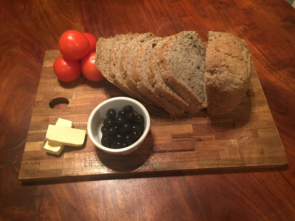 Wholemeal olive and rosemary bread from the breadmaker