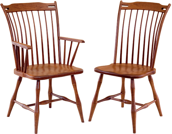 Thumb-back chair. Built with cherry wood from Penns Creek Furniture.