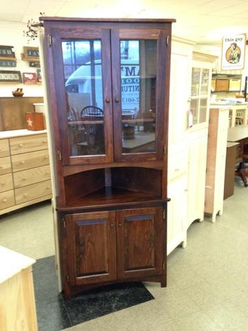 Amish pine corner china cabinet, finished in OCS rich tobacco stain
