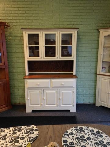 Amish pine hutch and buffet with white paint and stain tones.jpg