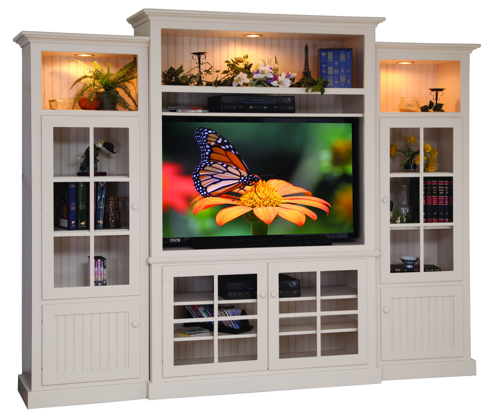 White TV wall system with glass doors Amish.jpg