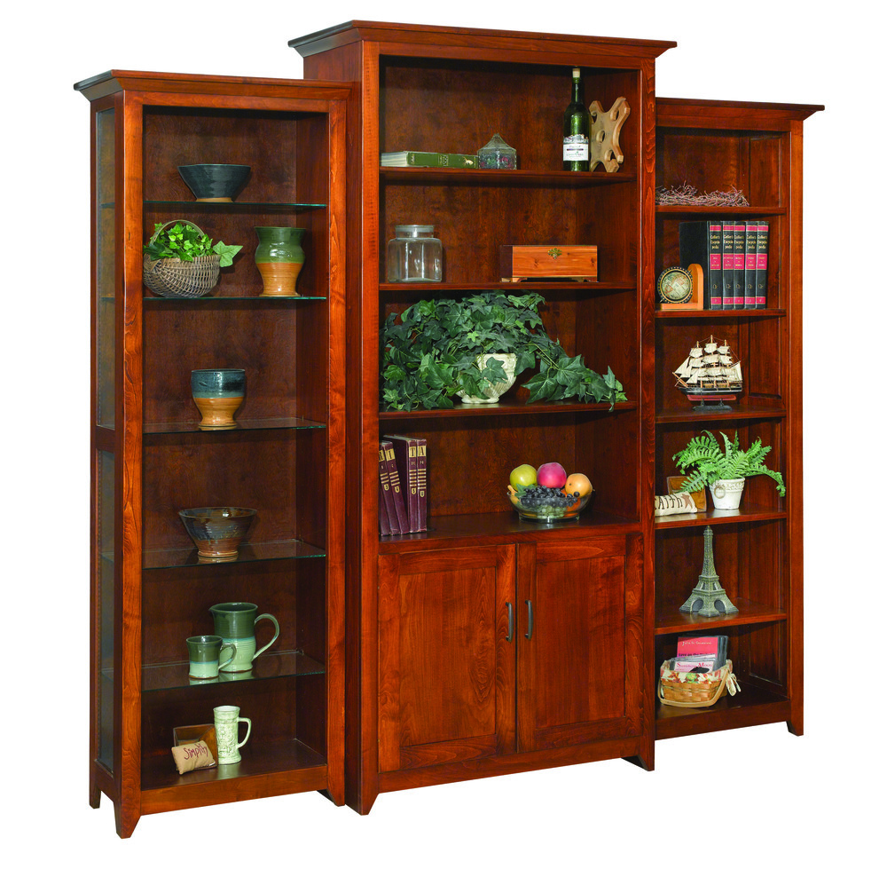 Amish crib for sale - Rustic Cherry Bookcase Wall System Jpg