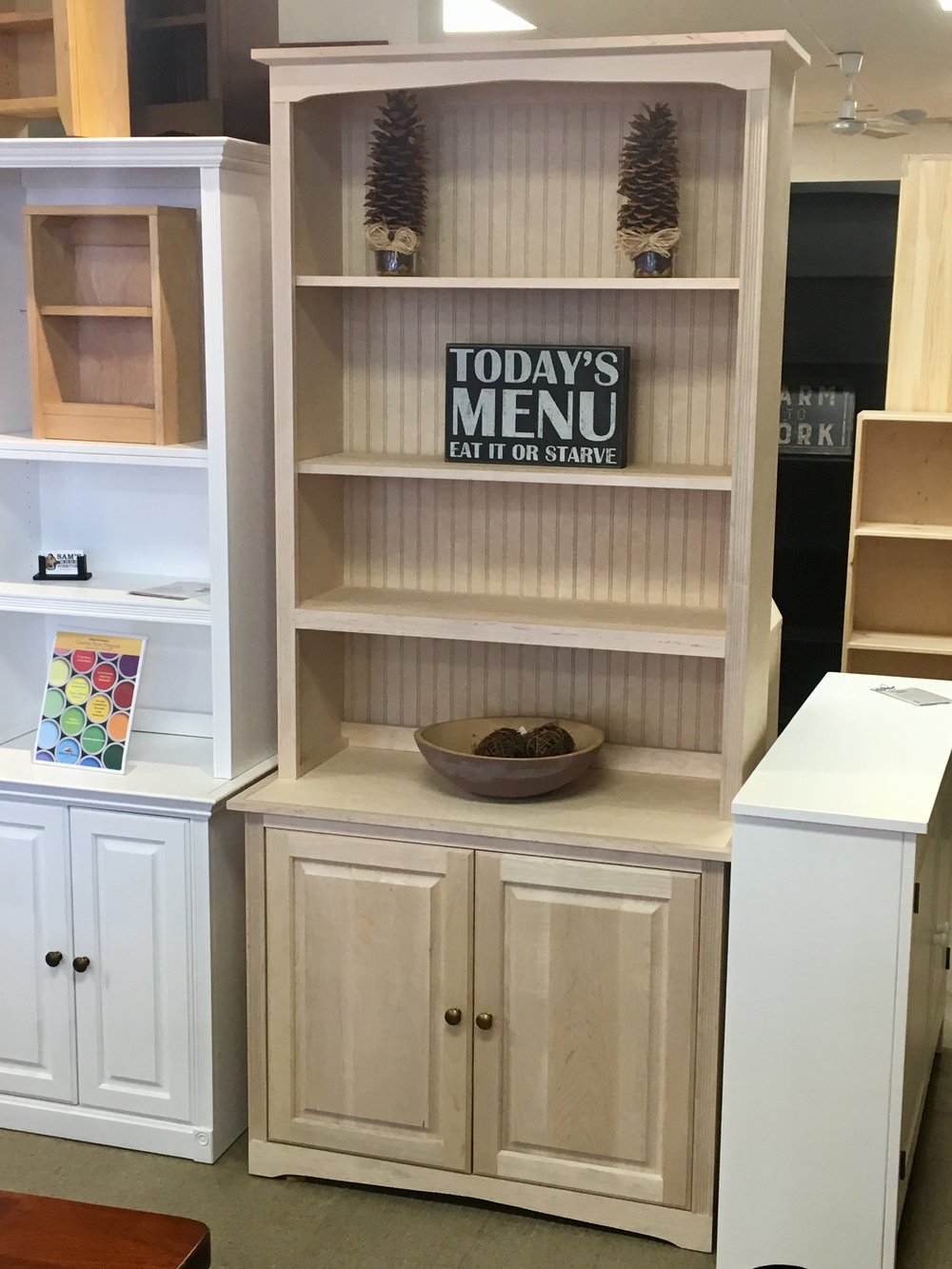 Superior Maple Unfinished Cabinet And Hutch