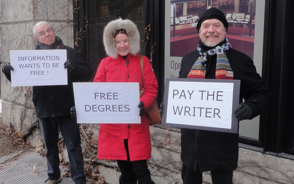 Authors outside Robarts Library at the University of Toronto, protesting university policies on copying from books without purchasing a license. (photo by John Degen)