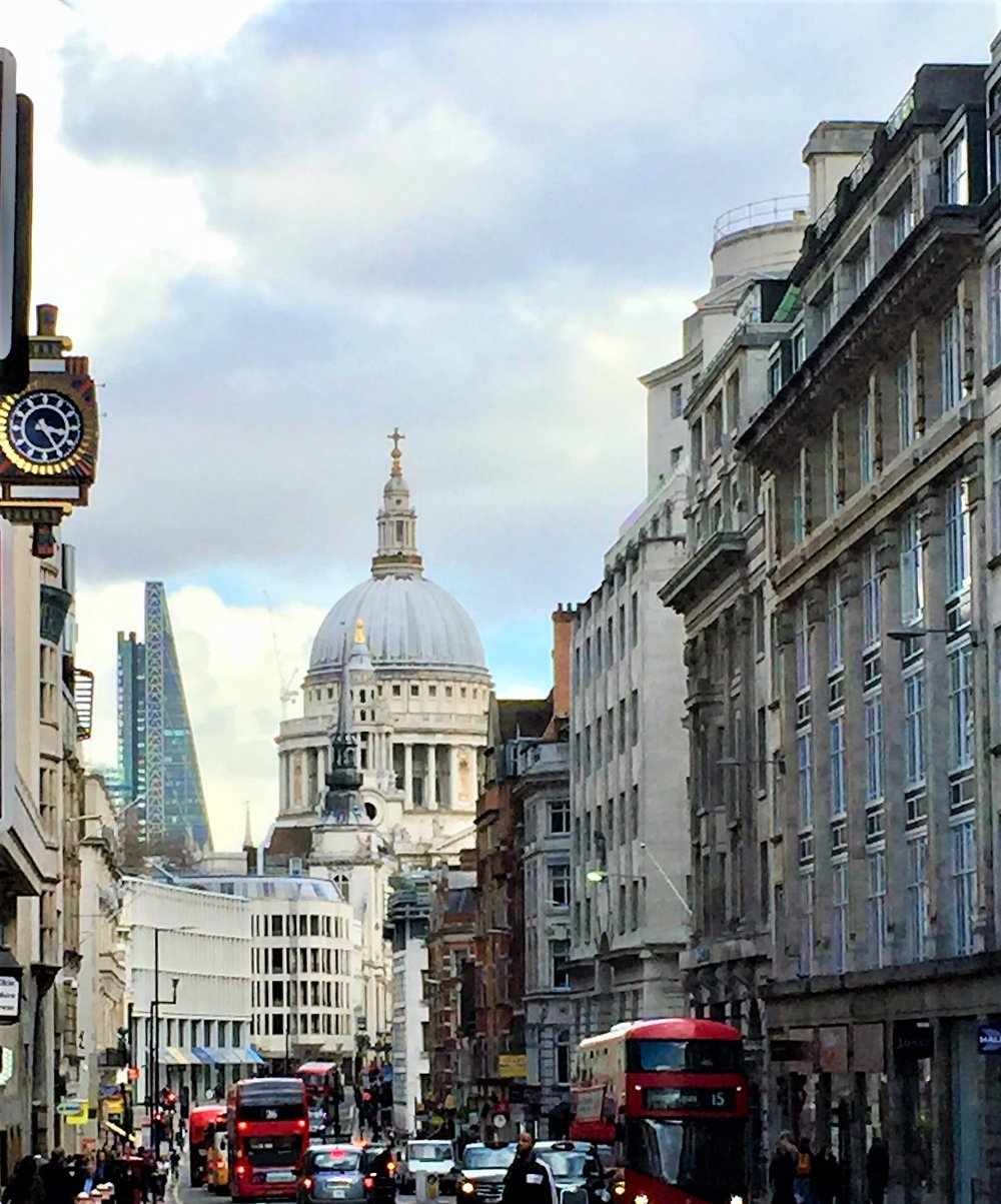 St. Paul's Cathedral dome from Fleet Street, London. Image courtesy me and my little camera.
