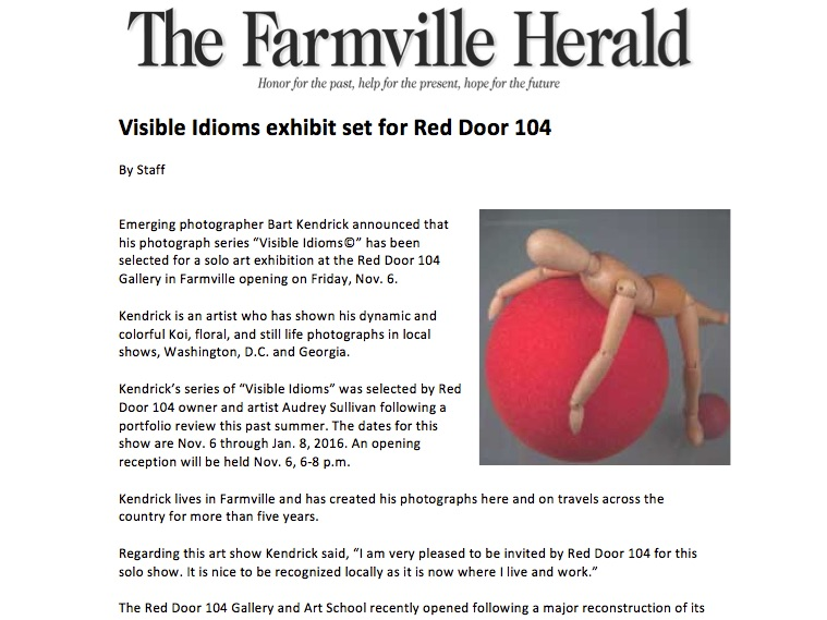 Visible Idioms exhibit set for Red Door 104