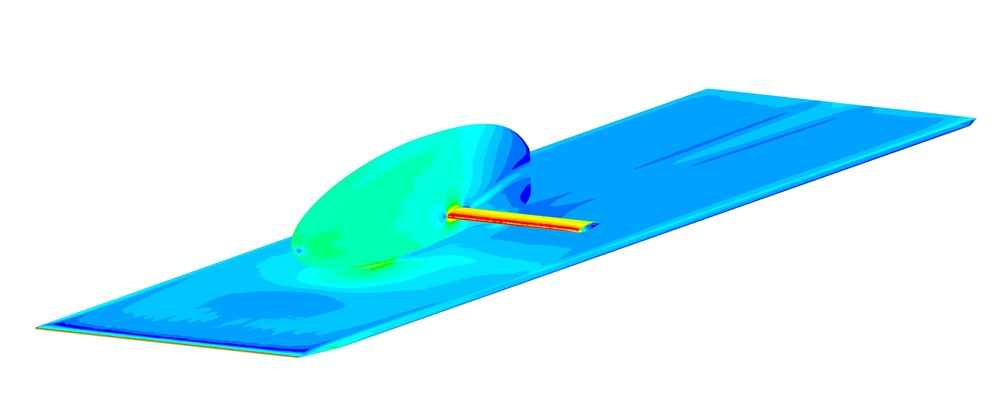 CFD analysis of wind tunnel sting positioning.