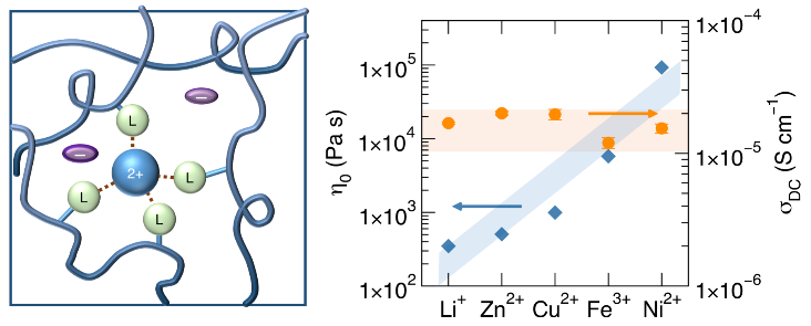Zero-frequency viscosity can be dramatically tuned in PIL-inspired polymers through the choice of metal cation species, while ionic conductivity remains roughly constant.