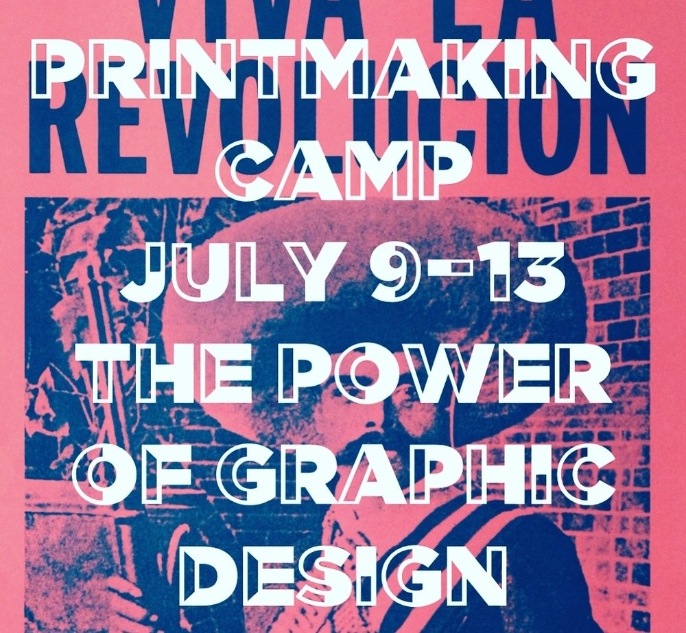 Printmaking Camp: THE POWER OF GRAPHIC DESIGN  - July 9- July 13 | Ages 8 to 13Printmaking camp invites students to experiment with techniques, materials and processes used in historical and contemporary printmaking while examining these processes in the light of current social issues. Students will learn about the power of color, text and visual communicationAbout the teaching artist: Lorain Rihan is an interdisciplinary visual artist, arts educator, and community organizer. She graduated from San Diego State University in 2012 with a BA in Applied Arts & Sciences with an emphasis in printmaking and painting, and a minor in Women's Studies. Lorain's approach takes on a social justice framework as she invites students to consider their surroundings and to examine the social and political realities that impact them as individuals and their communities.
