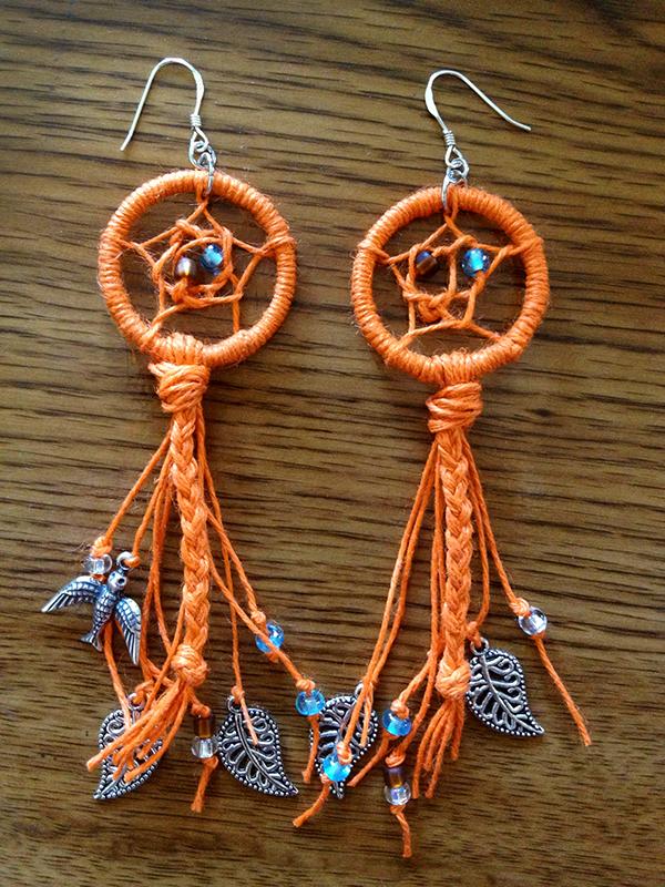 Orange Dreamcatcher Earrings