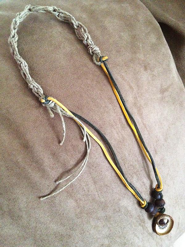 Macrame & Suede Acorn Necklace