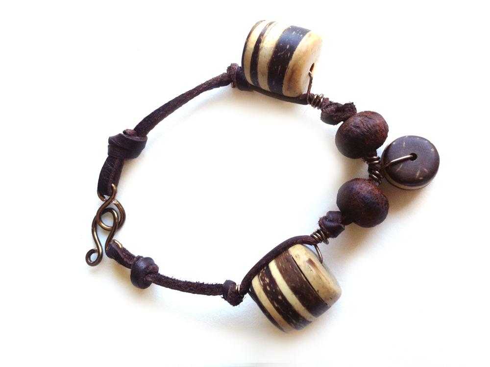 Deerskin Suede and Wood Bracelet