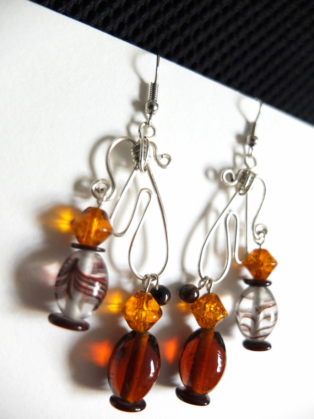 Amber & Hammered Wire Earrings