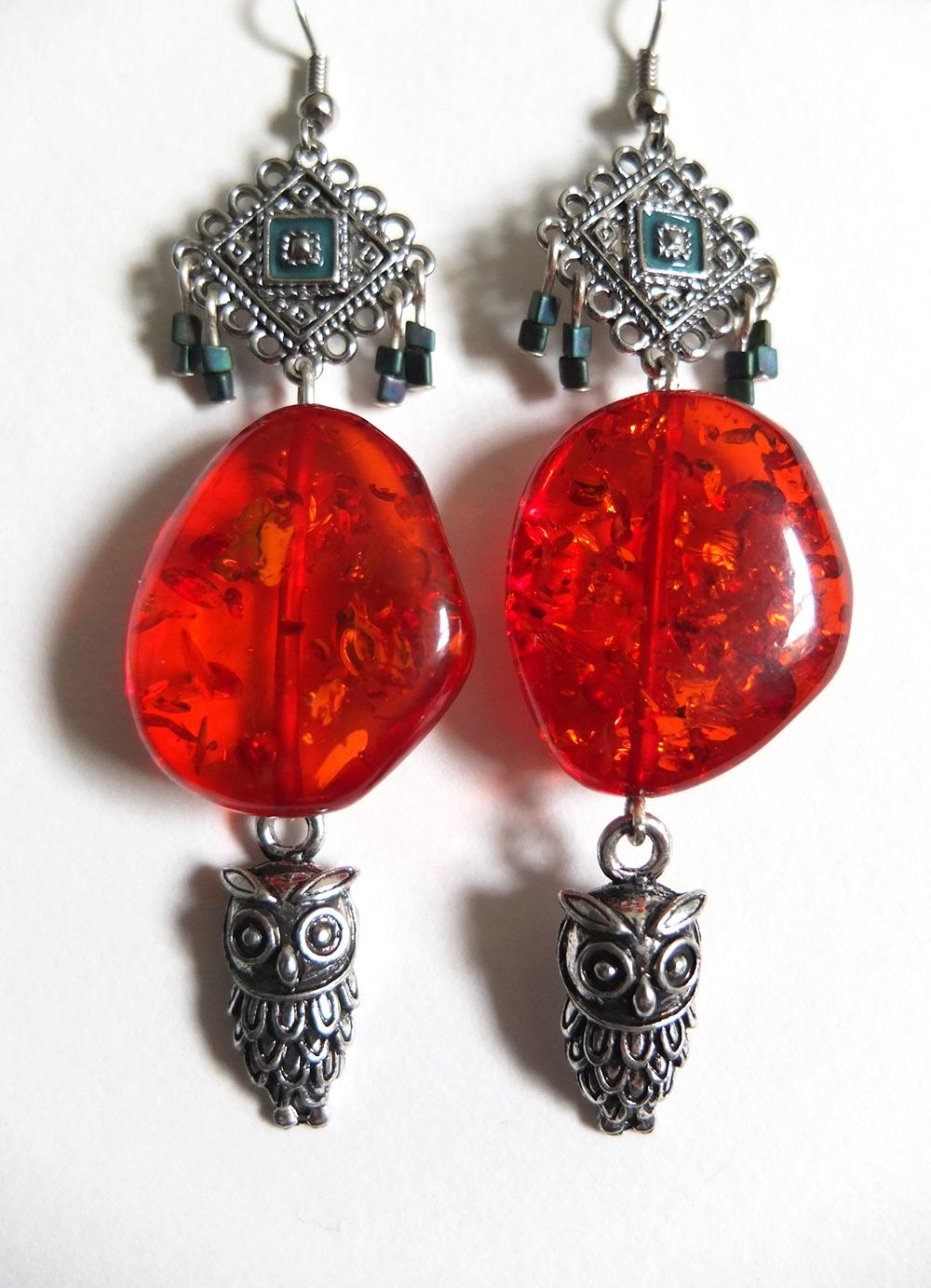 Red Amber Owl Earrings