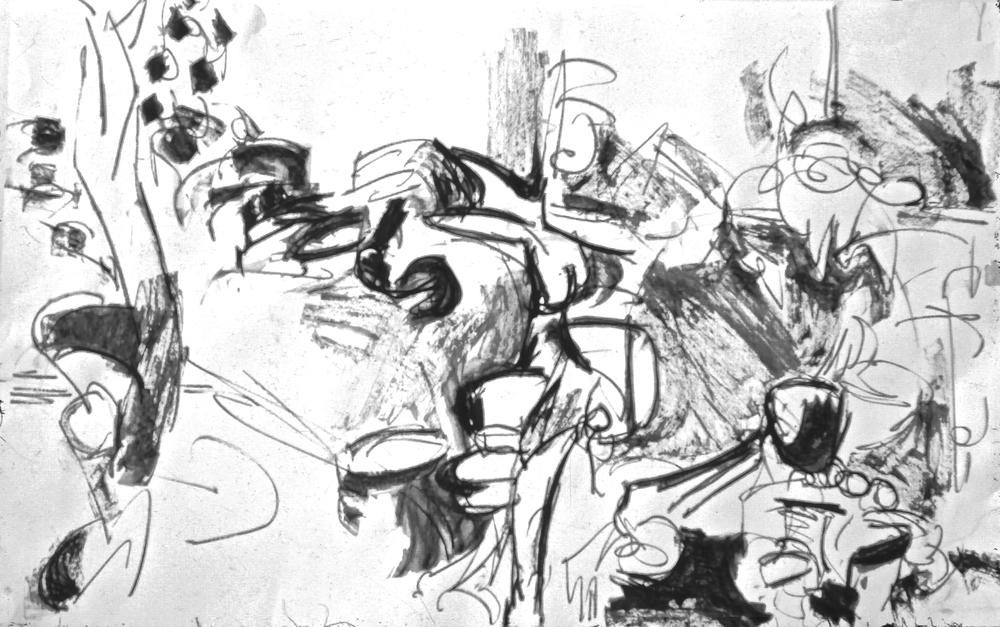 """Gennie - Sumi ink on 18 x 24"""" paper 1960's"""